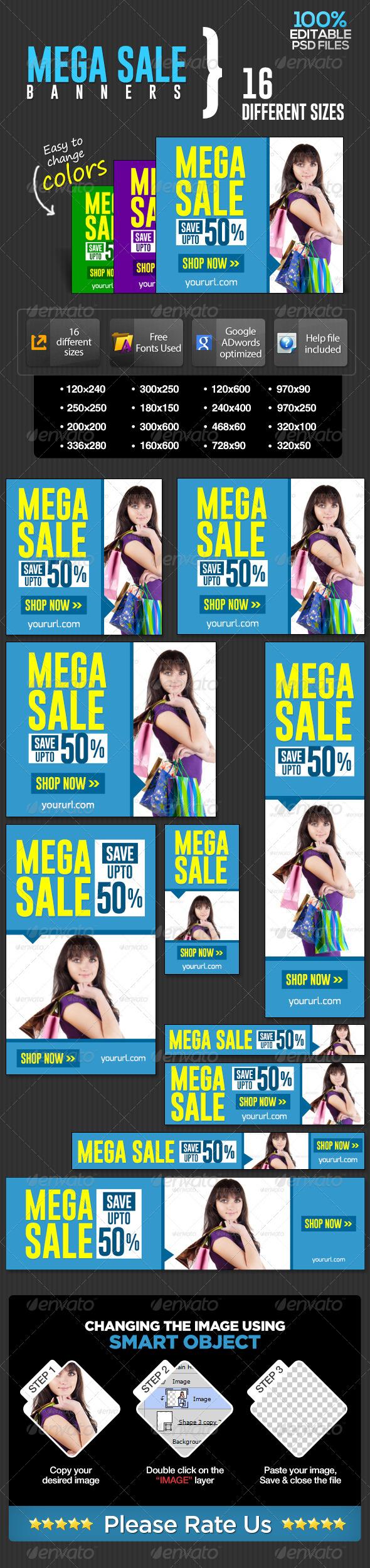 GraphicRiver E-Commerce Banners For Mega Sale 7033721