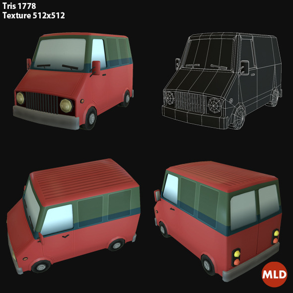 3DOcean Low Poly Van 7034000