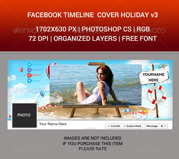 GraphicRiver Facebook Timeline Cover Holiday v3 7034021