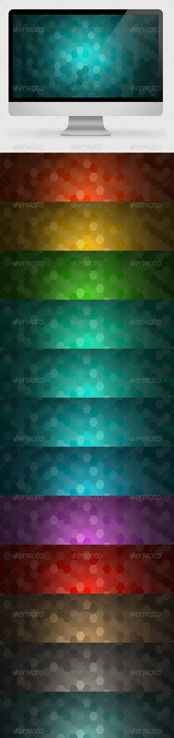 GraphicRiver 12 Hexagon Backgrounds 7017312
