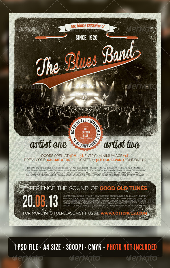GraphicRiver Indie Rock Blues Jazz Vintage Flyer Poster 7034056