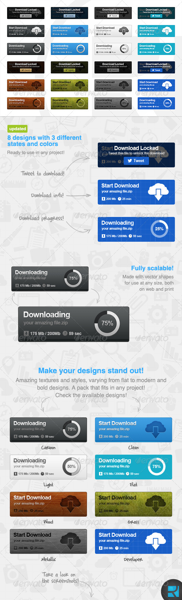 Download Buttons Set - Buttons Web Elements