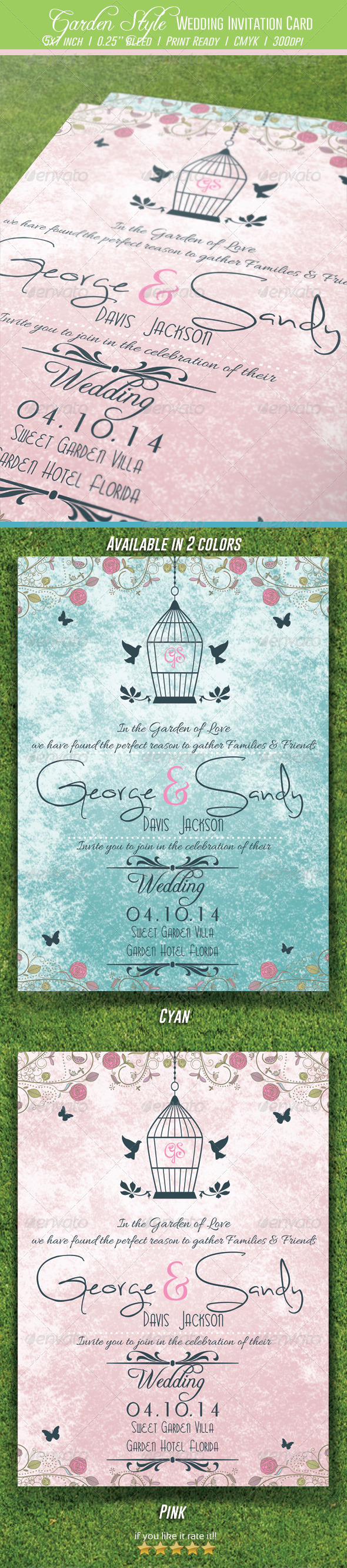 GraphicRiver Garden Style Wedding Invitation Card 7019647