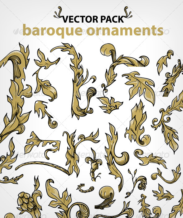 GraphicRiver Baroque Ornaments Set 6958436
