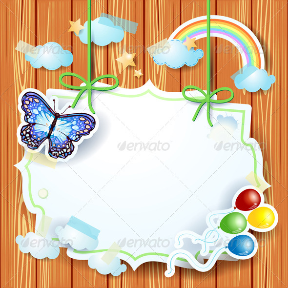 GraphicRiver Spring Background with Butterfly and Label 7035221