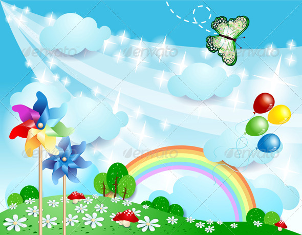 GraphicRiver Spring Background with Pinwheels and Butterfly 7035257