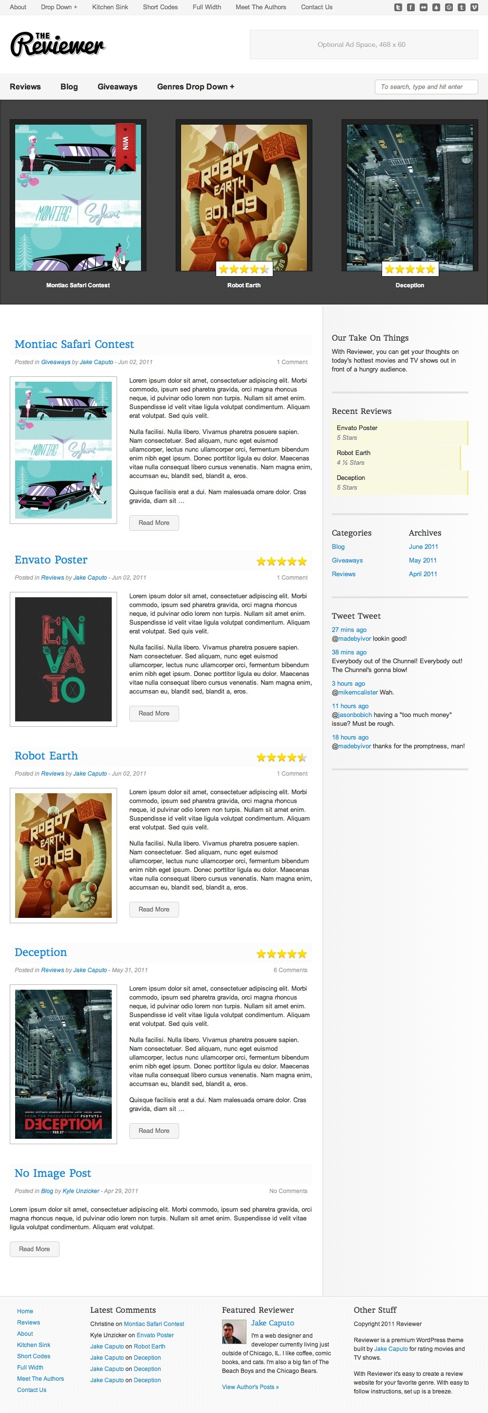 Reviewer - WP Theme for Entertainment Reviews - The Reviewer Home page has a dark (with an optional light counterpart) featured post area that is controlled by WordPress sticky posts, as well as a custom Recent Reviews bar graph style widget.