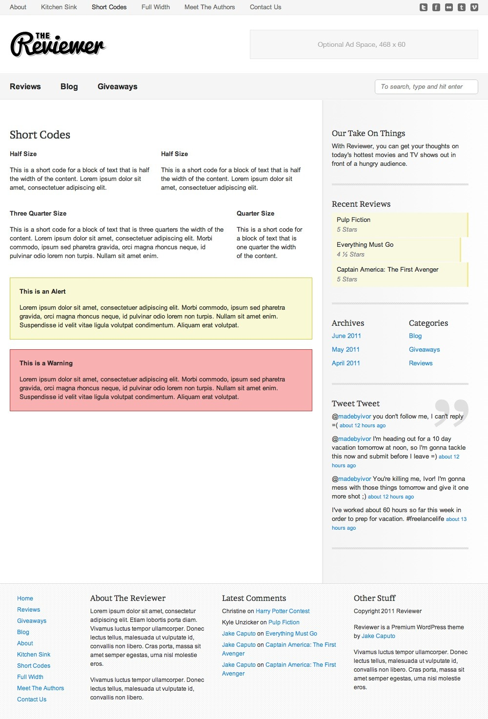 Reviewer - WP Theme for Entertainment Reviews - Multiple layout short codes as wells as an alert and a warning.