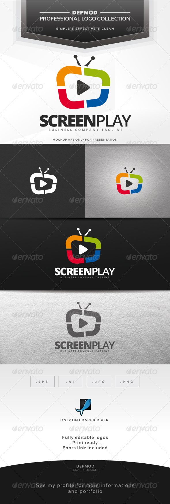 GraphicRiver Screen Play Logo 7035454