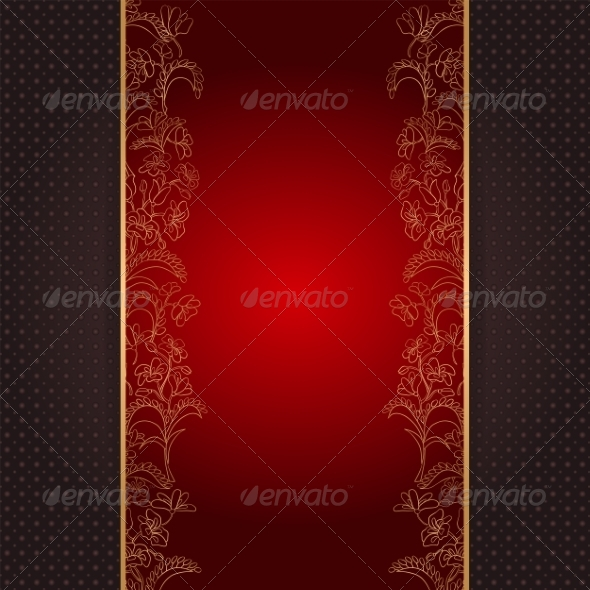 GraphicRiver Invitation Card with Gold Floral Ornament 7035561