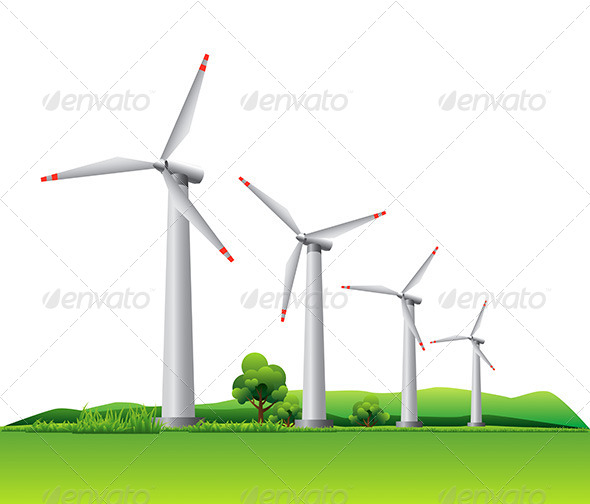 GraphicRiver Wind Turbines on a Mmeadow 7035600