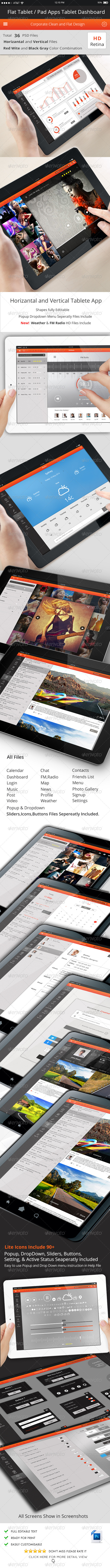 GraphicRiver Flat Tablet and Pad App Dashboard-02 7035610