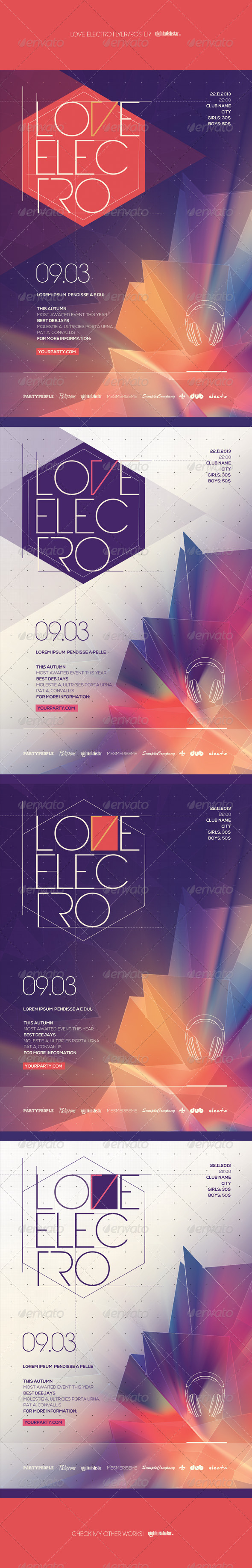 GraphicRiver Love Electro Poster Flyer 7024227