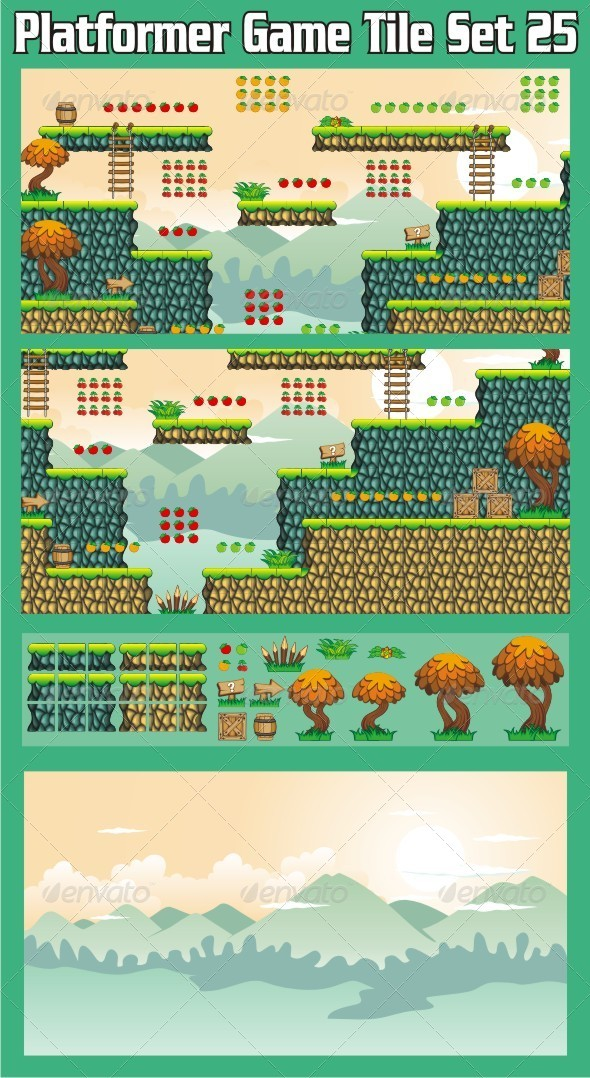 GraphicRiver Platformer Game Tile Set 25 7036246