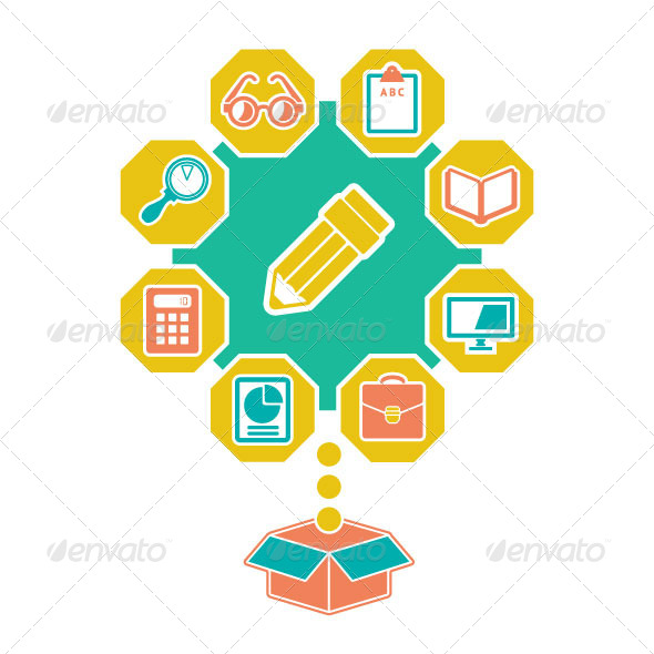GraphicRiver Flat Concept of Education and Infobusiness 7036247