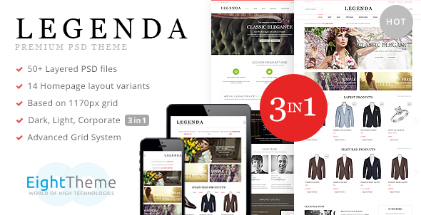 ThemeForest Legenda E-Commerce and Corporate PSD Theme 6987978