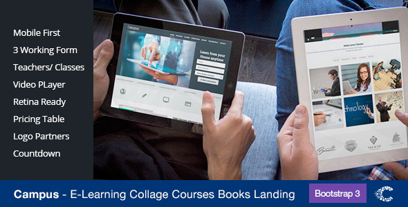 ThemeForest Campus Education eCourse sign-up Landing 7036871