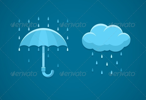 GraphicRiver Rainy Weather Flat Icons with Cloud Rain Drops 7037492