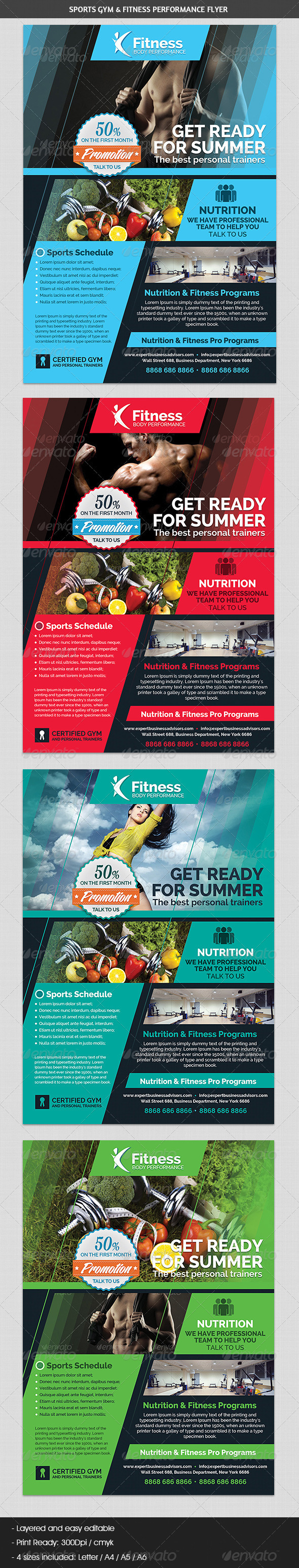 GraphicRiver Sports Gym & Fitness Performance Flyer 7038291