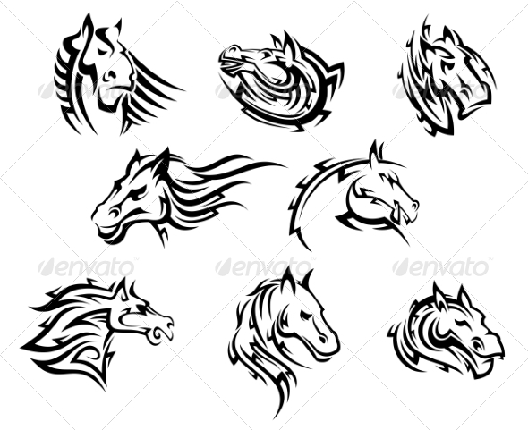 GraphicRiver Horse Head Tribal Tattoos 7038337