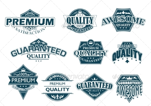 GraphicRiver Labels Set Denoting Premium Quality 7038345