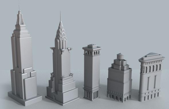 3DOcean New York cartoon building collection 7039142