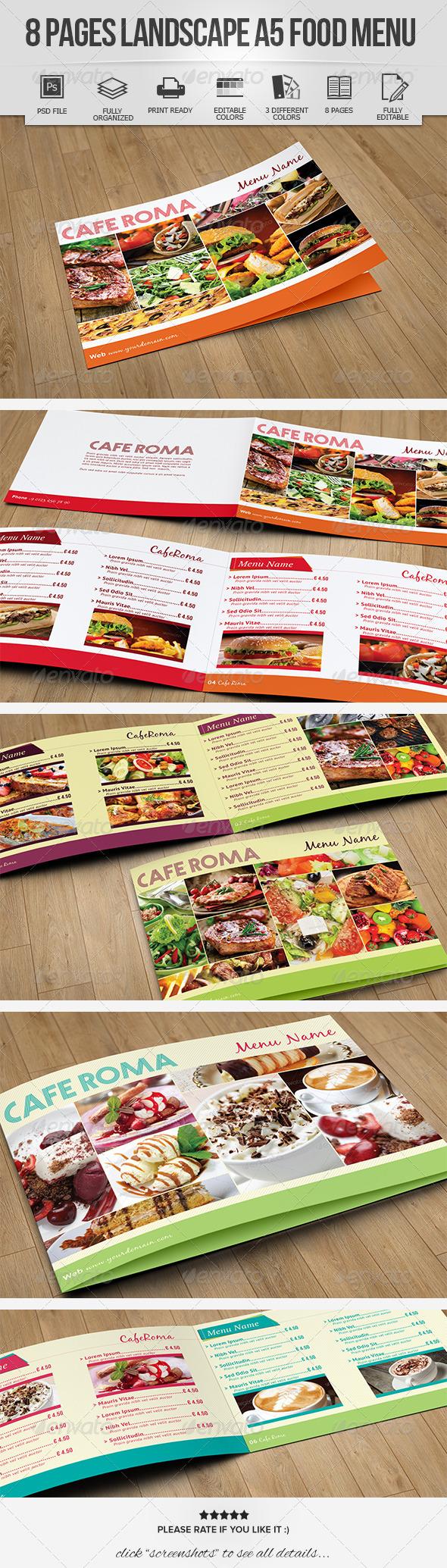 GraphicRiver 8 Pages Landscape A5 Food Menu 7039289