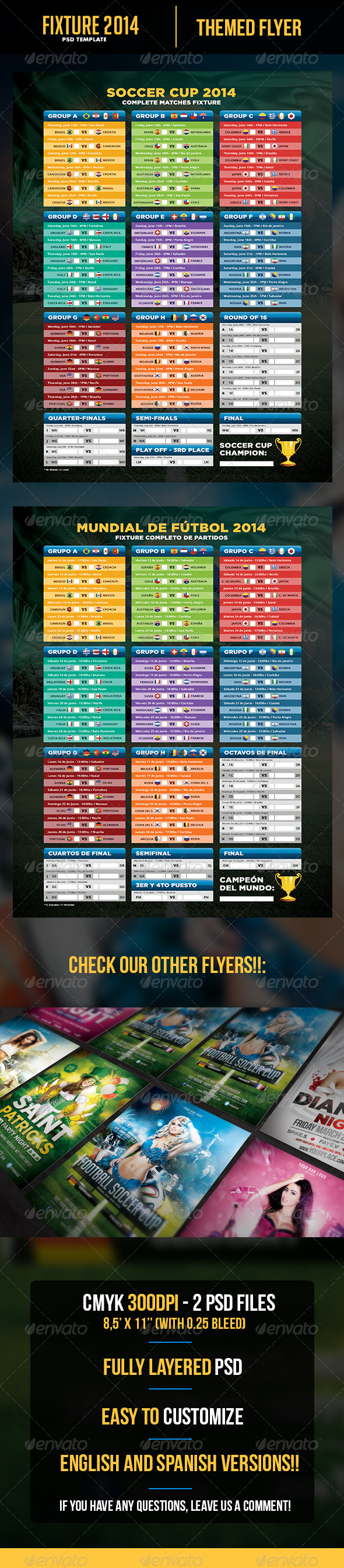 GraphicRiver Soccer Cup 2014 Fixture English and Spanish 7004970