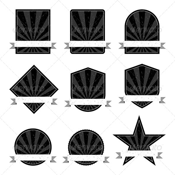 GraphicRiver Black and White Retro Labels 7039526