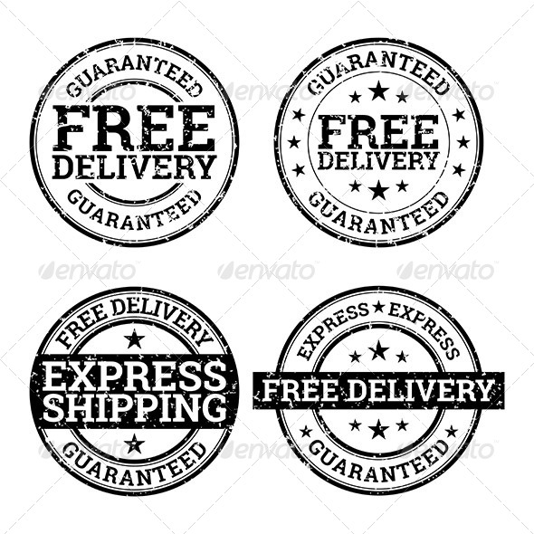 GraphicRiver Free Delivery Black and White Stamps 7039568