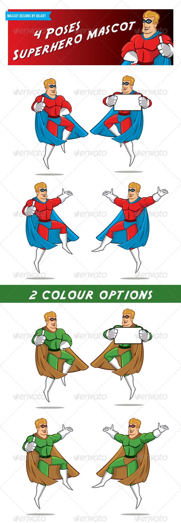 4 Pose Superhero Mascot