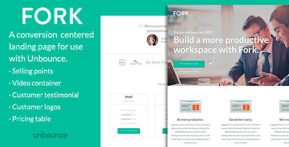 ThemeForest FORK Unbounce Template 6959451