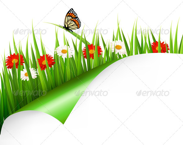 GraphicRiver Spring Background with Flowers Grass and Butterfly 7039922