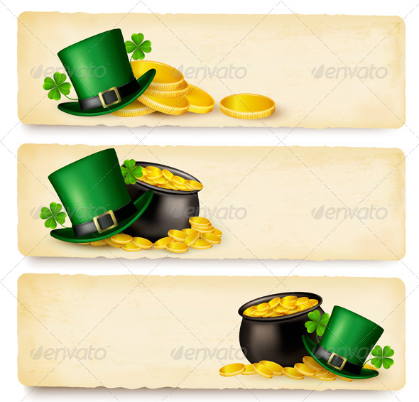 GraphicRiver Three Saint Patrick Day Banners with Lover Leaves 7039936