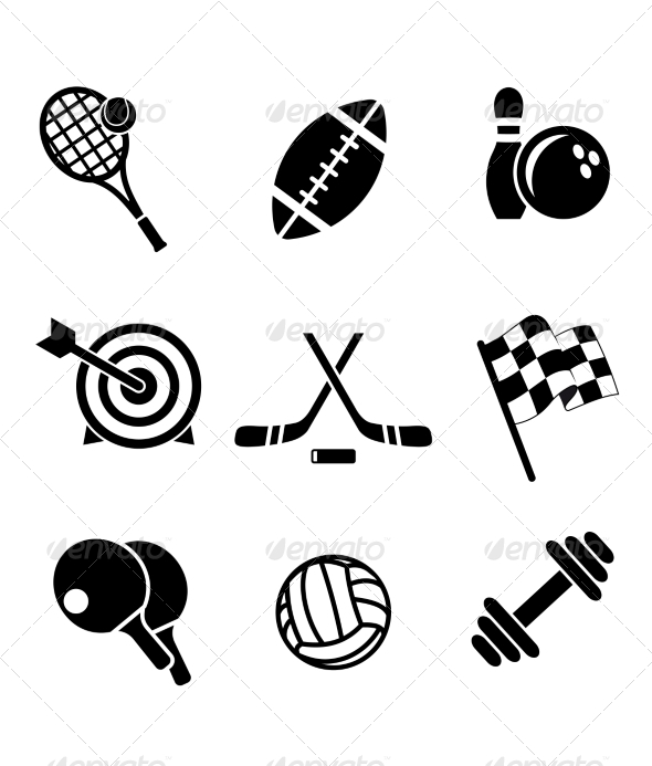 GraphicRiver Black and White Sporting Icons 7039961