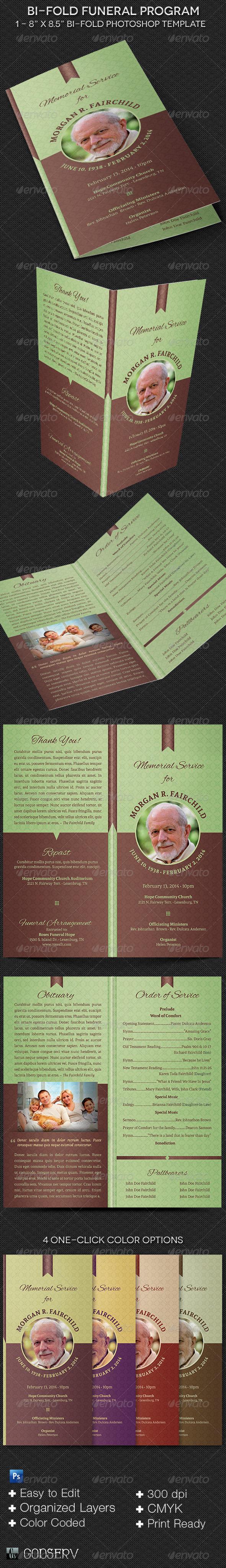 GraphicRiver Bi-fold Funeral Program Template 7039973