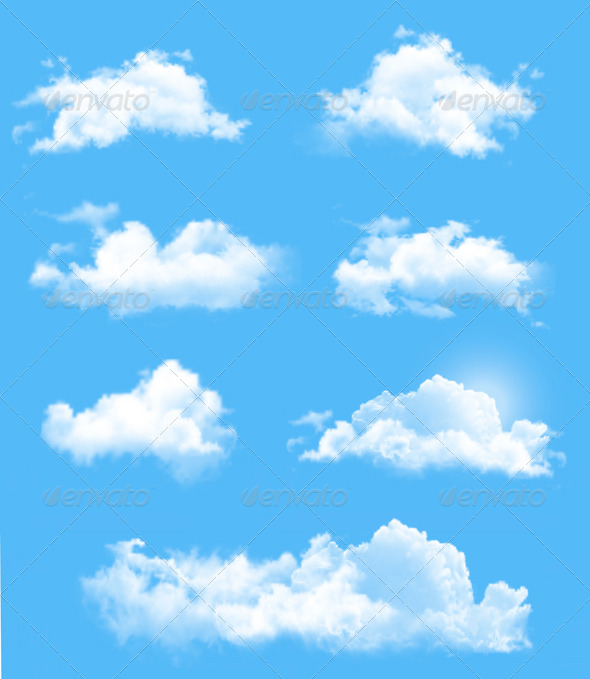 GraphicRiver Set of Transparent Different Clouds 7039978