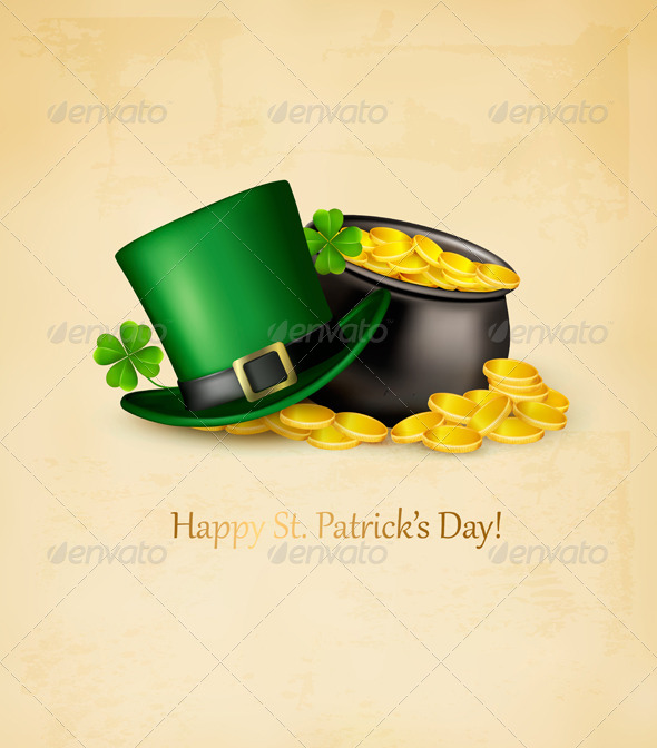 GraphicRiver Saint Patricks Day Background with Clover Leaves 7039993