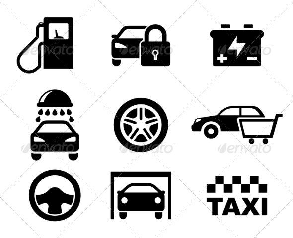 GraphicRiver Black and White Car Service Icons 7040050