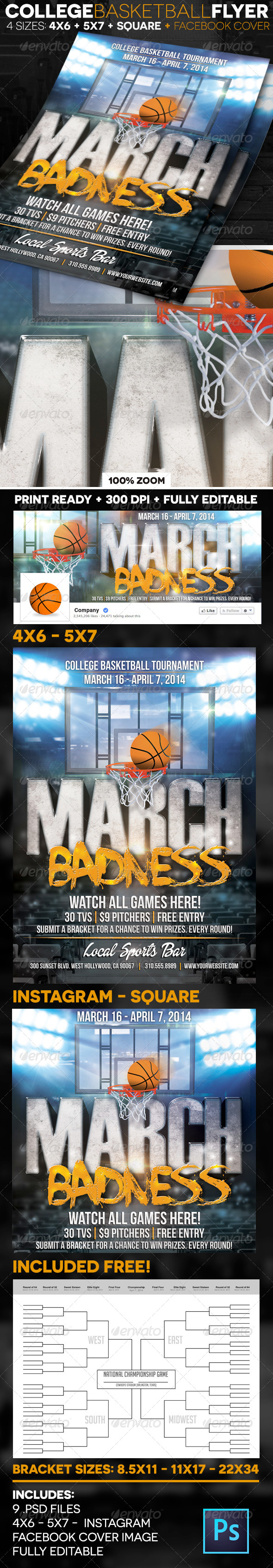 GraphicRiver March Badness College Basketball Flyer 7016371