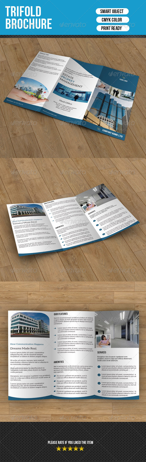 Real Estate Trifold Template - Corporate Brochures