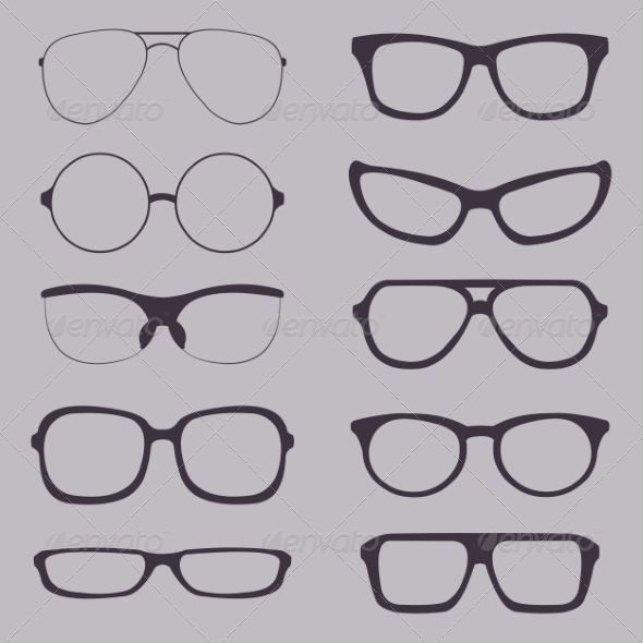 GraphicRiver Set of Glasses Silhouettes 7040706