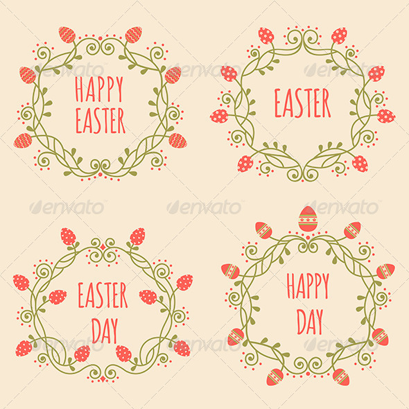 GraphicRiver Set of Easter Ornate Frames with Eggs 7040744