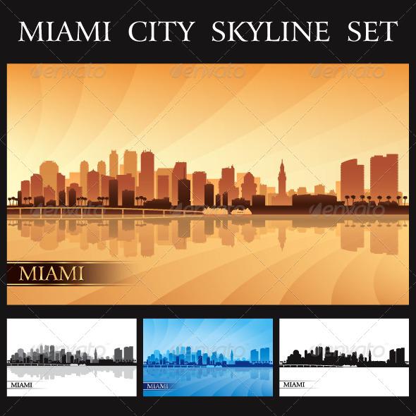 GraphicRiver Miami City Skyline Silhouettes Set 7041127