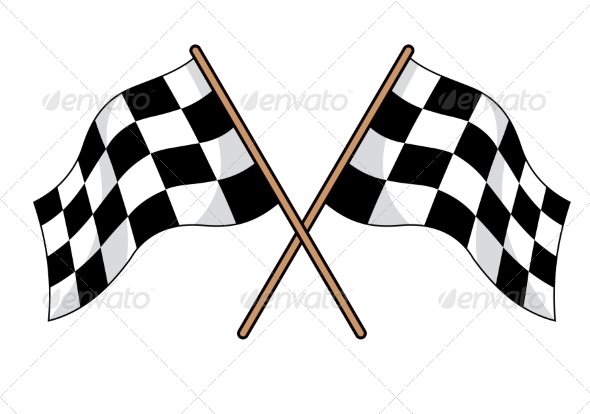 GraphicRiver Two Crossed Black and White Checkered Flags 7041467