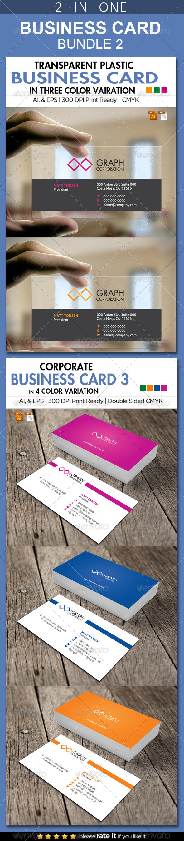 GraphicRiver 2 in One Busienss Card Bundle 2 7041524