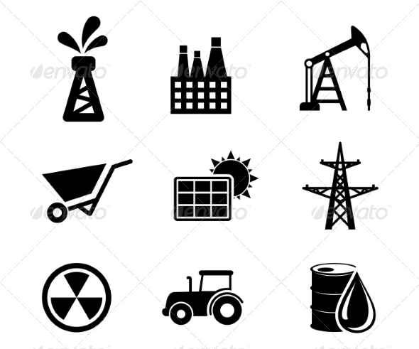 GraphicRiver Set of Black and White Industrial Icons 7041549