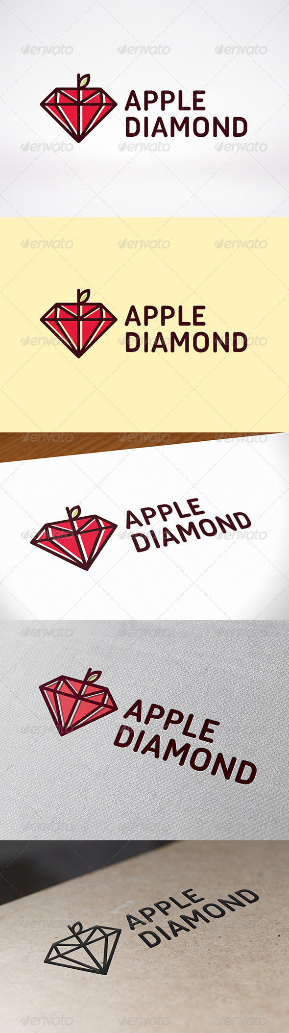 Apple Diamond Logo Template - Food Logo Templates