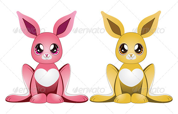 GraphicRiver Pink and Yellow Rabbits 7041615