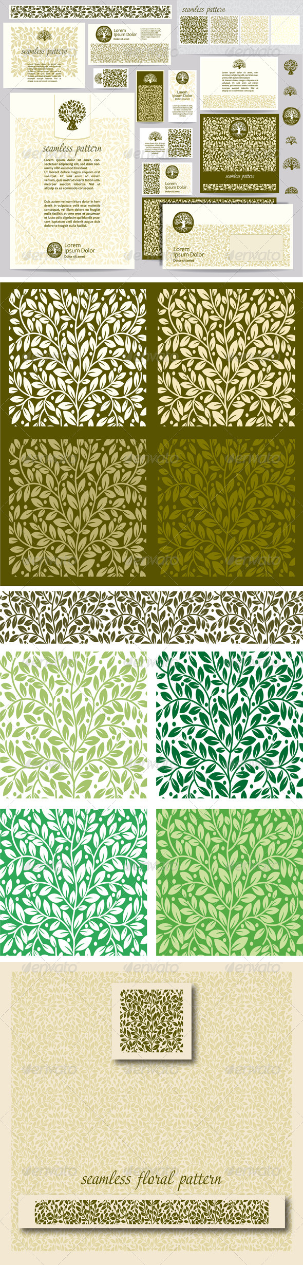 GraphicRiver Identity Template with Leaf Seamless Pattern 7041618